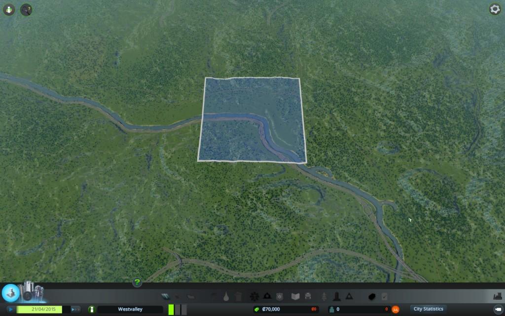 Zoom aus dem ursprünglichen Anfangsquadrat... Man beachte im oberen Bereich die Enden der BAB623 und BAB1 und im Süden der Querbereich der BAB6 Richtung Frankreich
