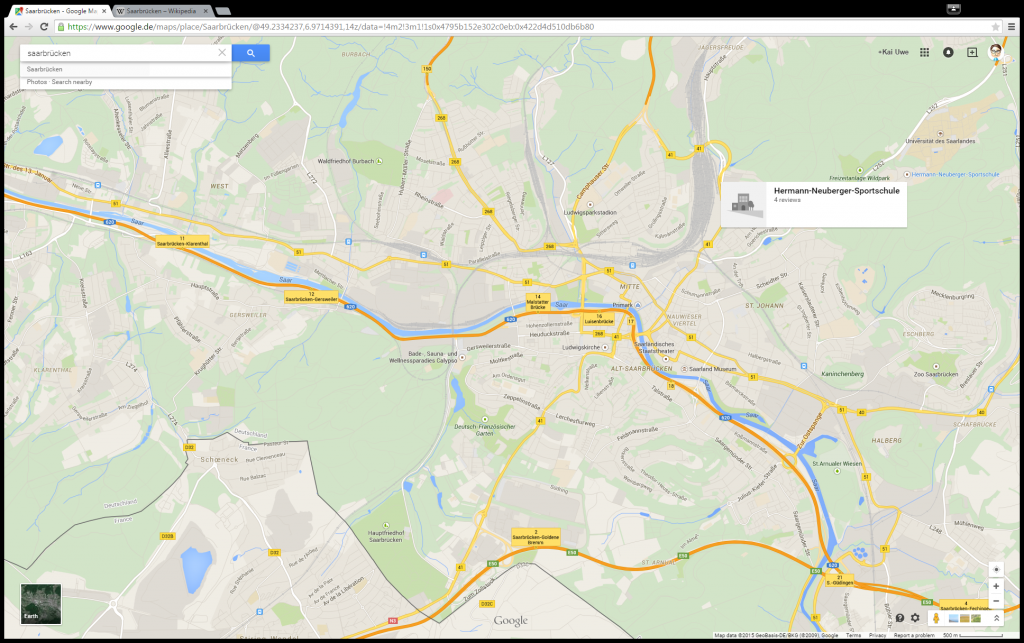 Google Maps Karte von Saarbrücken